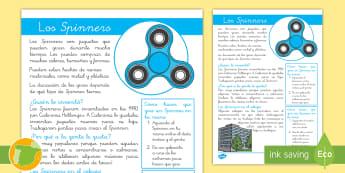 Hoja informativa: Los 'Spinners' - spinner, información, jueguete, hoja informativa, lectura, leer, lee, textos, texto, ,Spanish
