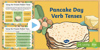LKS2 Pancake Day Verb Tenses PowerPoint - LKS2, Pancake Day, verb tenses, English, new-2014-curriculum-resources-ks2-english-resources-lower-k