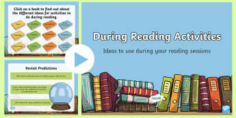 CfE During Reading Activities PowerPoint - CfE Literacy, reading comprehension strategies, 2nd level, second level, BDA, during reading strateg