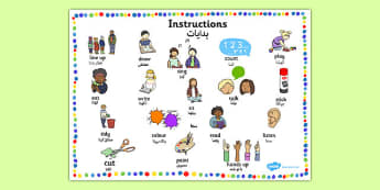 New EAL Starter Instructions Word Mat Urdu Translation - urdu, literacy, words, mats