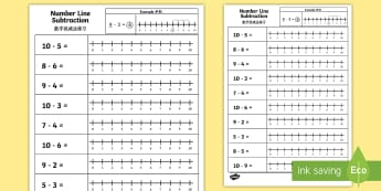 Subtraction From 10 Number Line Activity Sheet English/Mandarin Chinese - Subtraction From 10 Numberline Worksheet - numberline, subtract, substraction, suntraction, subtrcti