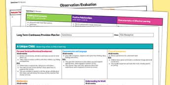 Sand Area Editable Continuous Provision Plan Reception FS2 - continuous provision
