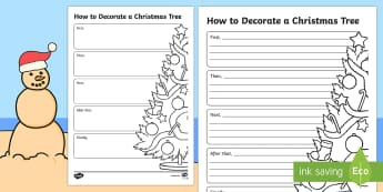 Christmas How to Decorate a Christmas Tree Writing Template-Australia