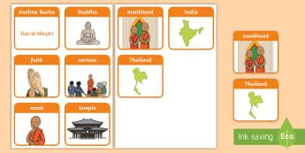 Asahna Bucha Flashcards - keyword, flashcard, thai, asahna Bucha, images