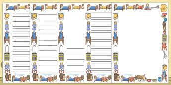 Goldilocks and The Three Bears Page Borders (A4) - goldilocks, three bears, bears, story, book, page border, border, writing template, writing aid, writing