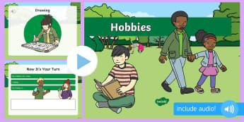 Hobbyuri în limba engleză PowerPoint  - vocabular în engleză,  comunicare în engleză, pronunție în engleză, activități de comunicar