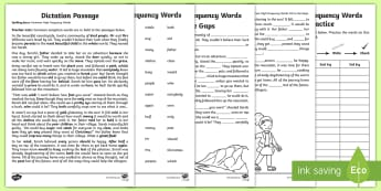 Dictation Passage Common High Frequency Words Guide - Australia, Year 2, high frequency words, sight words, exception words, dictation, passages, spelling