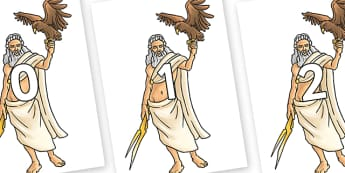 Numbers 0-100 on Zeus - 0-100, foundation stage numeracy, Number recognition, Number flashcards, counting, number frieze, Display numbers, number posters