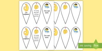 KS2 Emoji Self-Assessment Communication Fan - self assessment tool, traffic lights, self evaluation, emoji resources, KS1 self assessment.