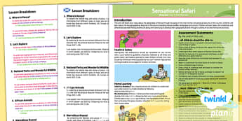 PlanIt - Geography Year 2 - Sensational Safari Planning Overview CfE