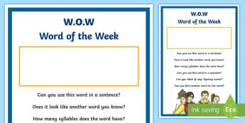 Word of the Week Display Poster - oral language, english, oracy, new language Curriculum, talking ,Irish