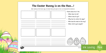 Easter Bunny on the Run Storyboard Template - CfE Easter,easter bunny,storyboard,creative writing,stories