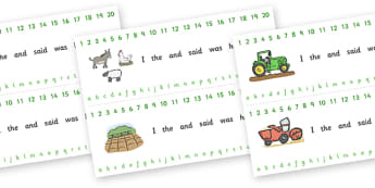 Combined Alphabet and Number Strips (On the Farm) - Farm, Alphabet, Numbers, Writing aid, farm, pig, cow, chicken, goat, tractor, farmer, chicken, goat, sheep, hay, milk, eggs