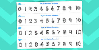 Number Formation Strips 0 to 10 - counting, numeracy, maths, count, overwriting