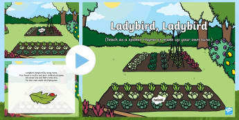 Ladybird, Ladybird Song PowerPoint - EYFS, Early Years, Key Stage 1, KS1, songs, music, minibeasts, insects, bugs, creepy crawlies, spide