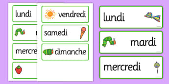 The Very Hungry Caterpillar Days of the Week Cards French - french, the very hungry caterpillar, days of the week, days of the week cards, caterpillar themed