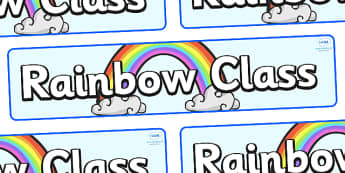 Rainbow Themed Classroom Display Banner - Themed banner, banner, display banner, Classroom labels, Area labels, Poster, Display, Areas