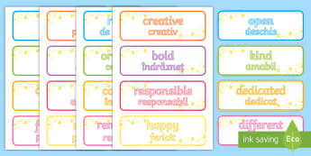 Inspirational Adjective Words Romanian/English  - adjectives, words, inspirational, EAL