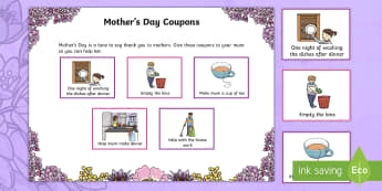 Mother's Day Coupons Activity - NI Mother's Day, coupon, job, chore, helpful, kindness, mum, mums, mothers day