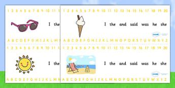 Combined Alphabet and Number Strips (Summer) - Summer, Alphabet, Numbers, Writing aid, holiday, holidays, seasons, beach, sun, flowers, ice cream, sea, seaside