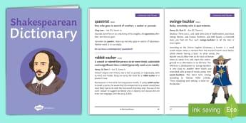 Shakespearean Language Dictionary Booklet  - Shakespearean Language, Shakespeare, thee/thou, dictionary, etymology