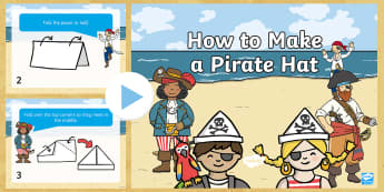How to Make a Pirate Hat Instruction PowerPoint - craft, craft activity, party hat, newspaper, paper hat