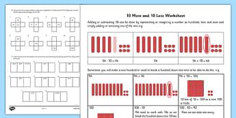 10 More 10 Less Worksheet - 10 more, 10 less, worksheet, 10, more, less