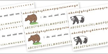 Alphabet Strips (Bears) - Alphabet, Learning letters, Writing aid, Writing Area, animals, polar bear, koala bear, brown bear, grizzly bear, sloth bear,  bear resources