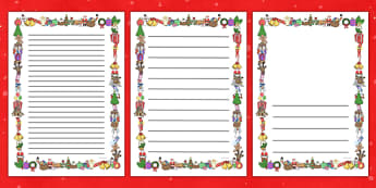 Christmas Writing Border - Christmas, xmas, Happy Christmas, tree, advent, nativity, page border, border, writing template, writing aid, writing aid, santa, father christmas, Jesus, tree, stocking, present, activity, cracker, angel, snowman, advent