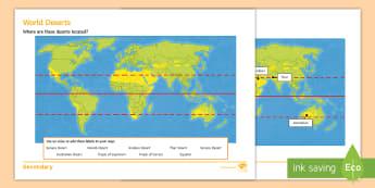 World Desert Locations Activity Sheet - deserts, distribution, map, atlas, location, worksheet