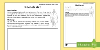 An Amazing Fact A Day South Africa Ndebele Art Activity Sheet - English - fact Day, art, general knowledge, ndebele, Geometric patterns, colours, shapes, heritage day, Tradit