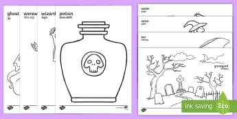 Halloween Colouring Pages English/Hindi - colour, activity, pumpkin , witch, bat, scary, black cat, mummy, grave stone, cauldron, broomstick,
