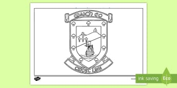 Mayo County Crest Colouring Page - GAA, Football, All Ireland, final, Flag, Ireland, sport