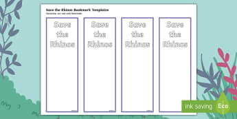 Save the Rhinos Editable Bookmarks - ronald the rhino, javan rhino, endangered, animals, java, indonesia, fundraising, extinct, bookmark