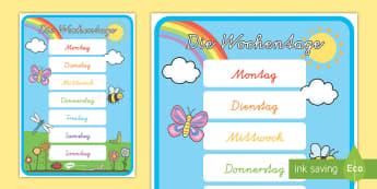 Die Wochentage Poster für die Klassenraumgestaltung - Tage der Woche, Monat, Dienstag, Mittwoch, Donnerstag, Freitag,German
