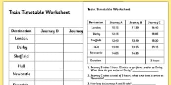 Train Timetable Worksheet - timetables, reading timetables, train timetables, train times, timetables worksheets, numeracy timetables, ks2 numeracy