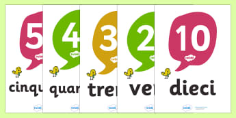 Italian Number and Word Posters (10-100 in tens) - Number posters, 10-100, Number names, Number words, Numerals, Foundation Numeracy, Number recognition, Number flashcards