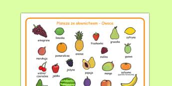 Plansza ze słownictwem - Owoce po polsku