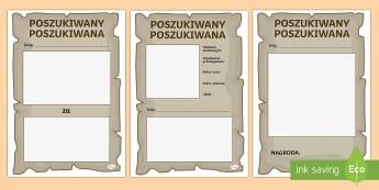 Szablon Plakat Poszukiwany Poszukiwana - wanted, gazetka, przestępca, nagroda, chrakterystyka, opis, postać,Polish