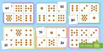Money Bingo to 10c Using 1c Coins - money, bingo, 10c, 1c, coins