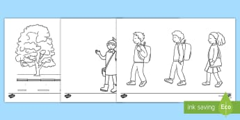 Taflenni Lliwio Mis Cerdded i'r Ysgol - cerdded, ysgol, lliwio, mis, wythnos, walk, school, week, colouring, pages, taflenni,Welsh