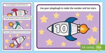 Rocket Playdough Mats 0 10 - rocket, space, motor skills, count