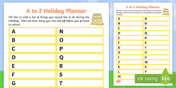 A to Z Holiday Planner Activity Sheet - parents, family, activities, home, holidays, Worksheet