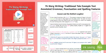 Y4 Story Writing: Traditional Model/Example Text - Example Texts Y4, exemplification, moderating, moderation, SATs, fiction, sample, traditional tale,