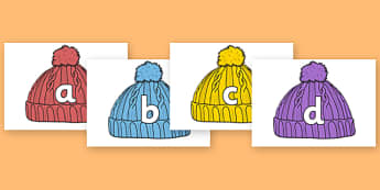 A-Z Alphabet on Woolly Hats - Hat, hats, woolly hat, winter, A-Z, A4, display, Alphabet frieze, Display letters, Letter posters, A-Z letters, Alphabet flashcards, ice, snow, cold