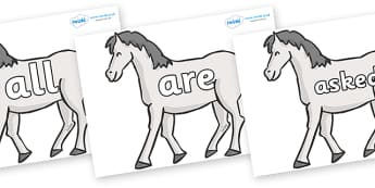 Tricky Words on Horses - Tricky words, DfES Letters and Sounds, Letters and sounds, display, words