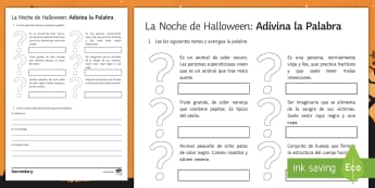 Halloween Guess the Word Activity Sheet Spanish - worksheet, exercises, descriptions, 31st, October, Festivities, Celebrations, Vocabulary