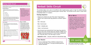 Netball Skills Circuit Adult Guidance - PE Curriculum Aims KS2, Play competitive game, modified where appropriate, and apply basic principle