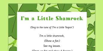 I'm a Little Shamrock Song - St Patricks day, I'm a little shamrock, shamrock, song