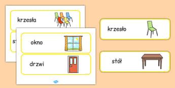 Etykiety Meble szkolne po polsku - przedszkole, podstawowa